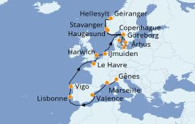 Itinerario de crucero Mediterráneo 19 días a bordo del Costa Fascinosa