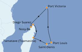 Itinerario de crucero Océano Índico 15 días a bordo del Costa Mediterranea