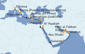 Itinerario de crucero Dubái 22 días a bordo del Costa Diadema
