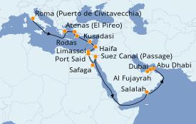 Itinerario de crucero Mar Rojo 22 días a bordo del Norwegian Jade