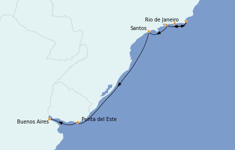 Itinerario del crucero Suramérica 7 días a bordo del Norwegian Star