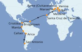 Itinerario de crucero Vuelta al mundo 2020 32 días a bordo del Costa Deliziosa