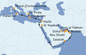Itinerario de crucero Dubái 25 días a bordo del Costa Diadema