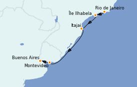 Itinerario de crucero Suramérica 6 días a bordo del Costa Favolosa