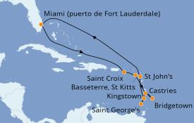 Itinerario de crucero Caribe del Este 13 días a bordo del Celebrity Equinox