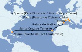Itinerario de crucero Trasatlántico y Grande Viaje 2020 15 días a bordo del Celebrity Edge