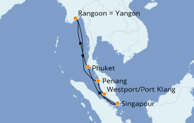 Itinerario de crucero Asia 13 días a bordo del Azamara Quest
