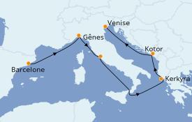 Itinerario de crucero Mediterráneo 7 días a bordo del MSC Magnifica