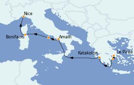 Itinerario de crucero Mediterráneo 8 días a bordo del Le Bougainville