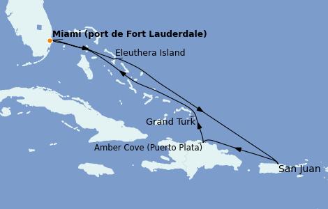 Itinerario del crucero Caribe del Este 7 días a bordo del Island Princess