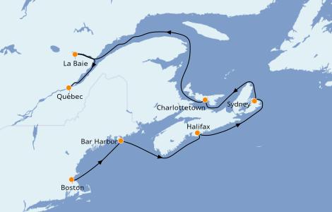 Itinerario del crucero Canadá 7 días a bordo del Norwegian Pearl
