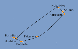 Itinerario de crucero Polinesia 15 días a bordo del Paul Gauguin