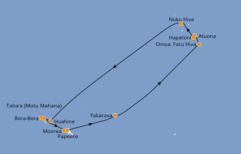 Itinerario del crucero Polinesia 14 días a bordo del Paul Gauguin