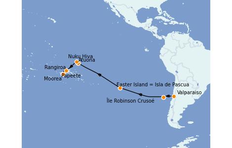Itinerario del crucero Polinesia 20 días a bordo del Silver Whisper