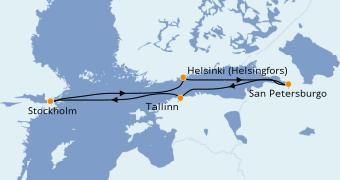 Itinerario de crucero Mar Báltico 8 días a bordo del Costa Magica