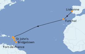 Itinerario de crucero Caribe del Este 15 días a bordo del Seabourn Odyssey
