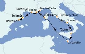 Itinerario de crucero Mediterráneo 11 días a bordo del Seven Seas Explorer