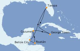 Itinerario de crucero Caribe del Oeste 8 días a bordo del Rhapsody of the Seas