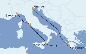 Itinerario de crucero Mediterráneo 6 días a bordo del Costa Luminosa