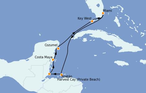 Itinerario del crucero Caribe del Oeste 7 días a bordo del Seven Seas Splendor