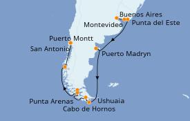 Itinerario de crucero Suramérica 15 días a bordo del Celebrity Eclipse