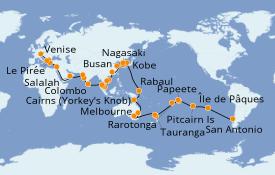 Itinerario de crucero Vuelta al mundo 2020 82 días a bordo del Costa Deliziosa