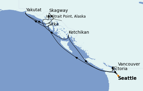 Itinerario del crucero Alaska 11 días a bordo del Norwegian Spirit
