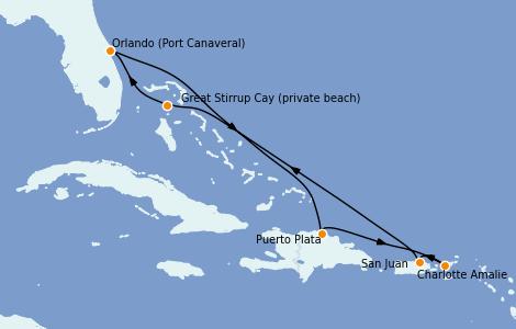 Itinerario del crucero Caribe del Este 7 días a bordo del Norwegian Escape