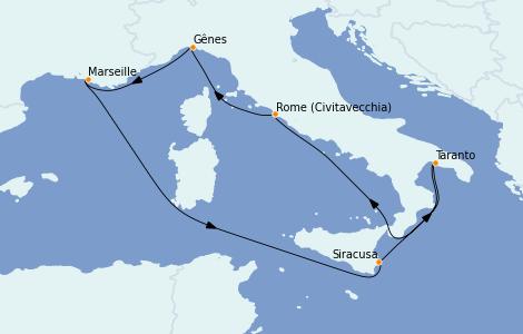 Itinerario del crucero Mediterráneo 7 días a bordo del MSC Seaside