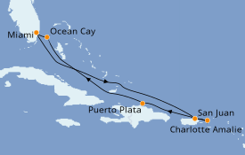 Itinerario de crucero Caribe del Este 8 días a bordo del MSC Seashore