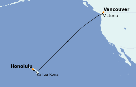 Itinerario del crucero Hawaii 8 días a bordo del Royal Princess