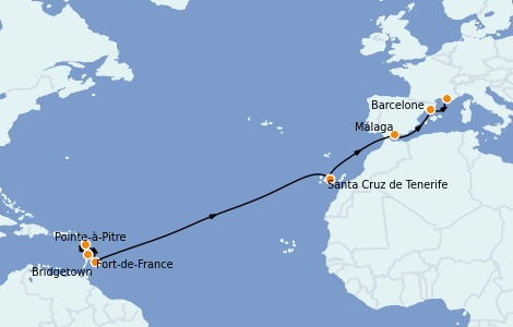 Itinerario del crucero Trasatlántico y Grande Viaje 2022 14 días a bordo del MSC Seaview