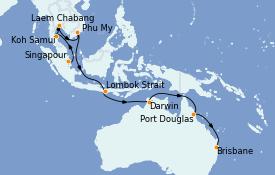 Itinerario de crucero Australia 2021 19 días a bordo del Royal Princess