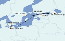 Itinerario de crucero Mar Báltico 8 días a bordo del MS Marina