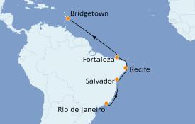Itinerario de crucero Suramérica 13 días a bordo del Silver Moon