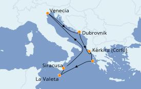 Itinerario de crucero Mediterráneo 8 días a bordo del MSC Lirica
