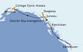 Itinerario de crucero Alaska 8 días a bordo del Royal Princess