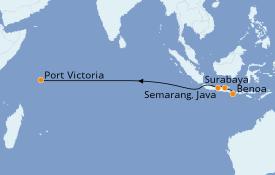 Itinerario de crucero Asia 14 días a bordo del Seabourn Sojourn