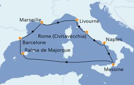 Itinerario de crucero Mediterráneo 9 días a bordo del Carnival Legend