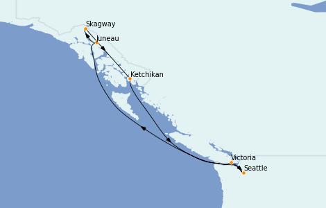 Itinerario del crucero Alaska 7 días a bordo del Norwegian Bliss
