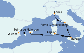 Itinerario de crucero Mediterráneo 6 días a bordo del MSC Seaview