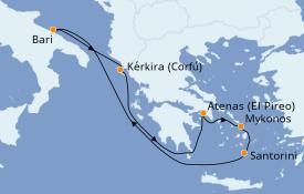 Itinerario de crucero Grecia y Adriático 7 días a bordo del Costa Mediterranea