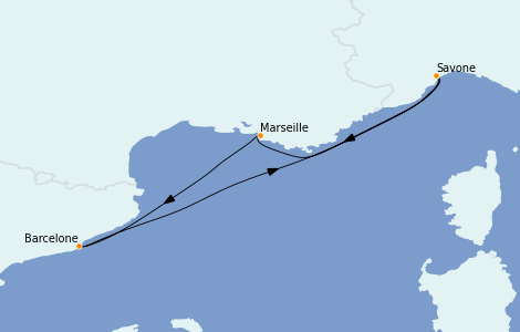 Itinerario del crucero Mediterráneo 4 días a bordo del Costa Toscana