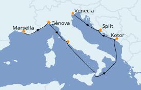 Itinerario de crucero Mediterráneo 7 días a bordo del MSC Opera