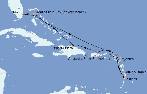 Itinerario del crucero Caribe del Este 10 días a bordo del Riviera