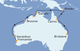 Itinerario de crucero Australia 2021 16 días a bordo del Sun Princess