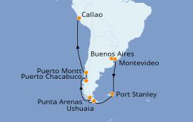Itinerario de crucero Norteamérica 22 días a bordo del Seven Seas Voyager