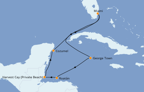 Itinerario del crucero Caribe del Oeste 7 días a bordo del Norwegian Breakaway