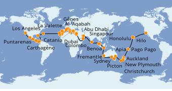 Itinerario de crucero Vuelta al mundo 2022 112 días a bordo del Island Princess