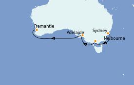 Itinerario de crucero Australia 2022 9 días a bordo del Queen Mary 2